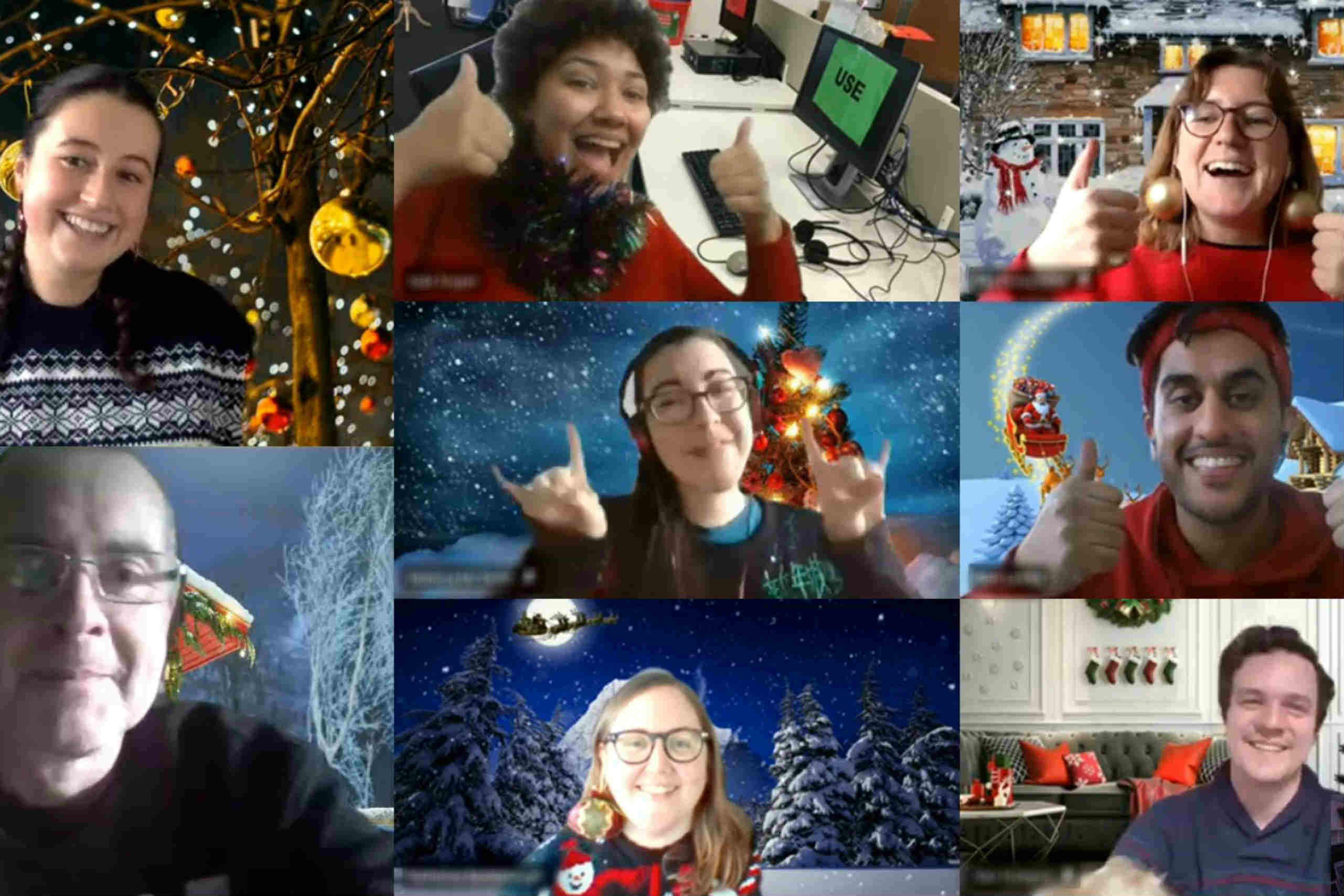 Team members on a Christmas Jumper Day Zoom call
