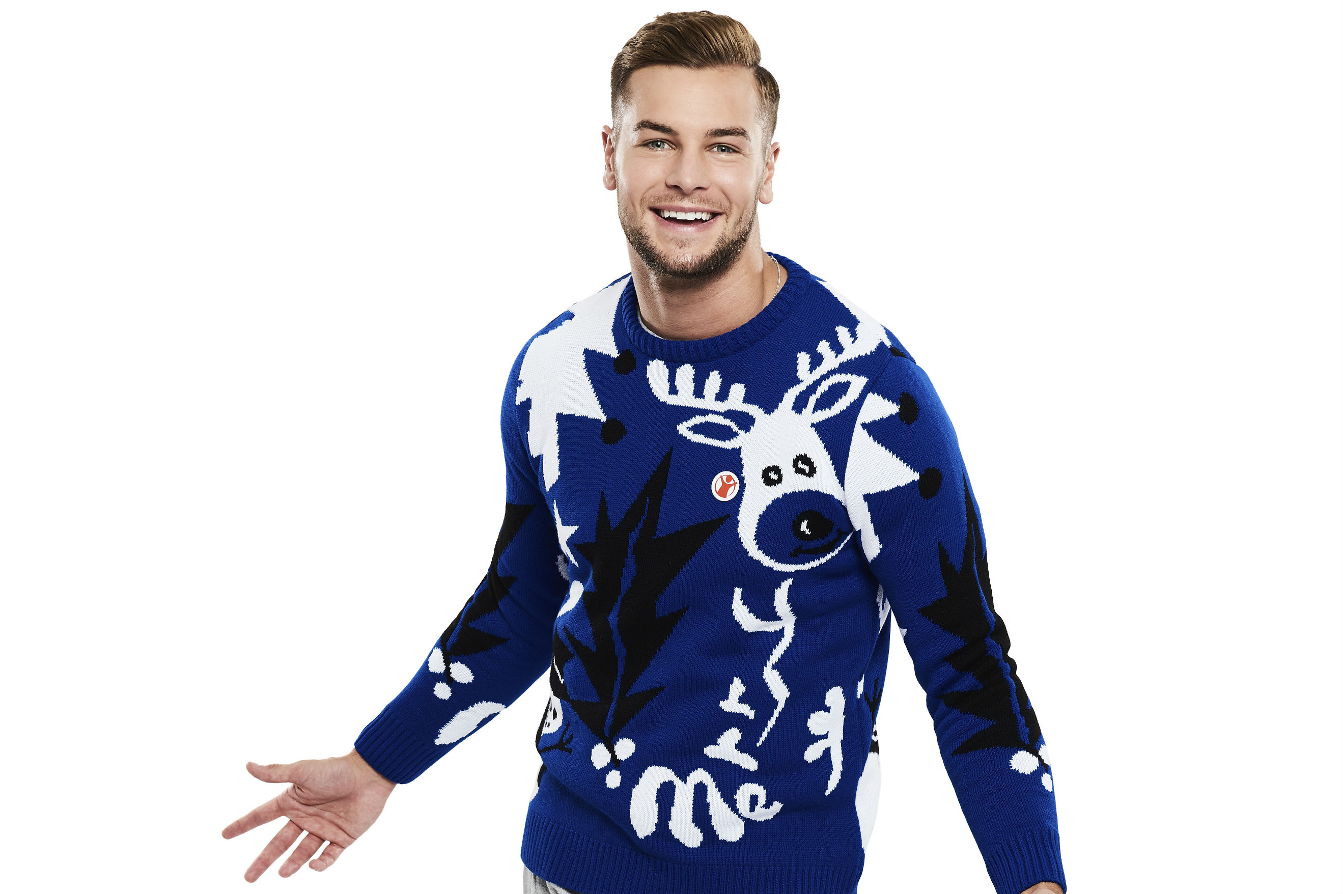 Chris Hughes, from Love Island, wears his festive Christmas Jumper for Save the Children