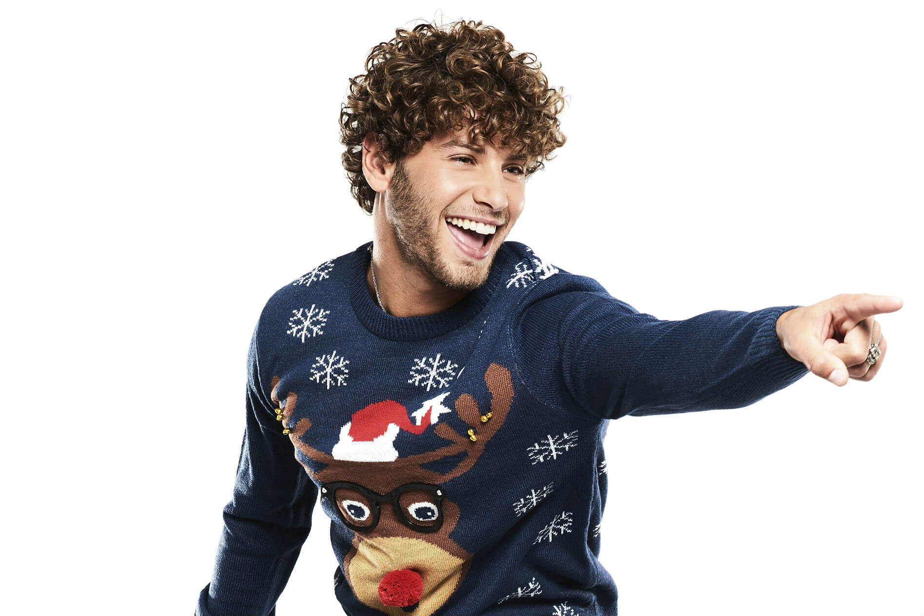 TV and Love Islands Eyal Booker dresses in his Christmas Jumper for Save the Children's Christmas Jumper Day.