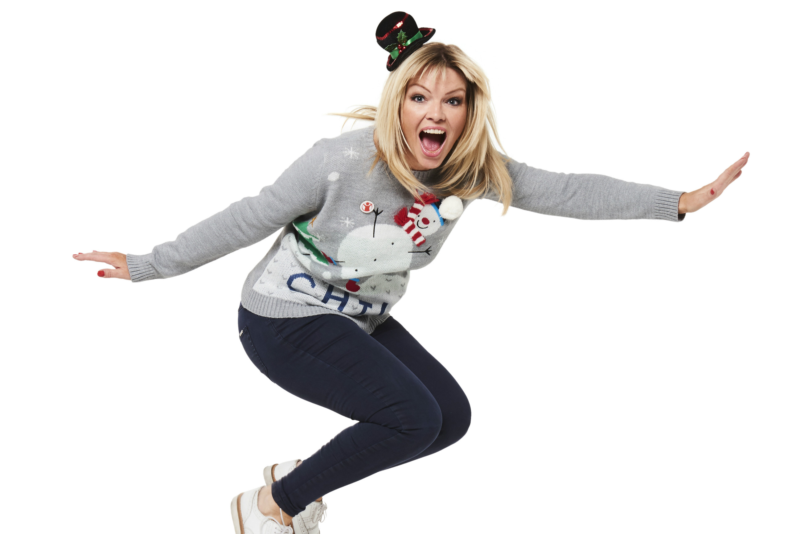 Kate Thornton wearing her festive jumper for Save the Children's Christmas Jumper Day
