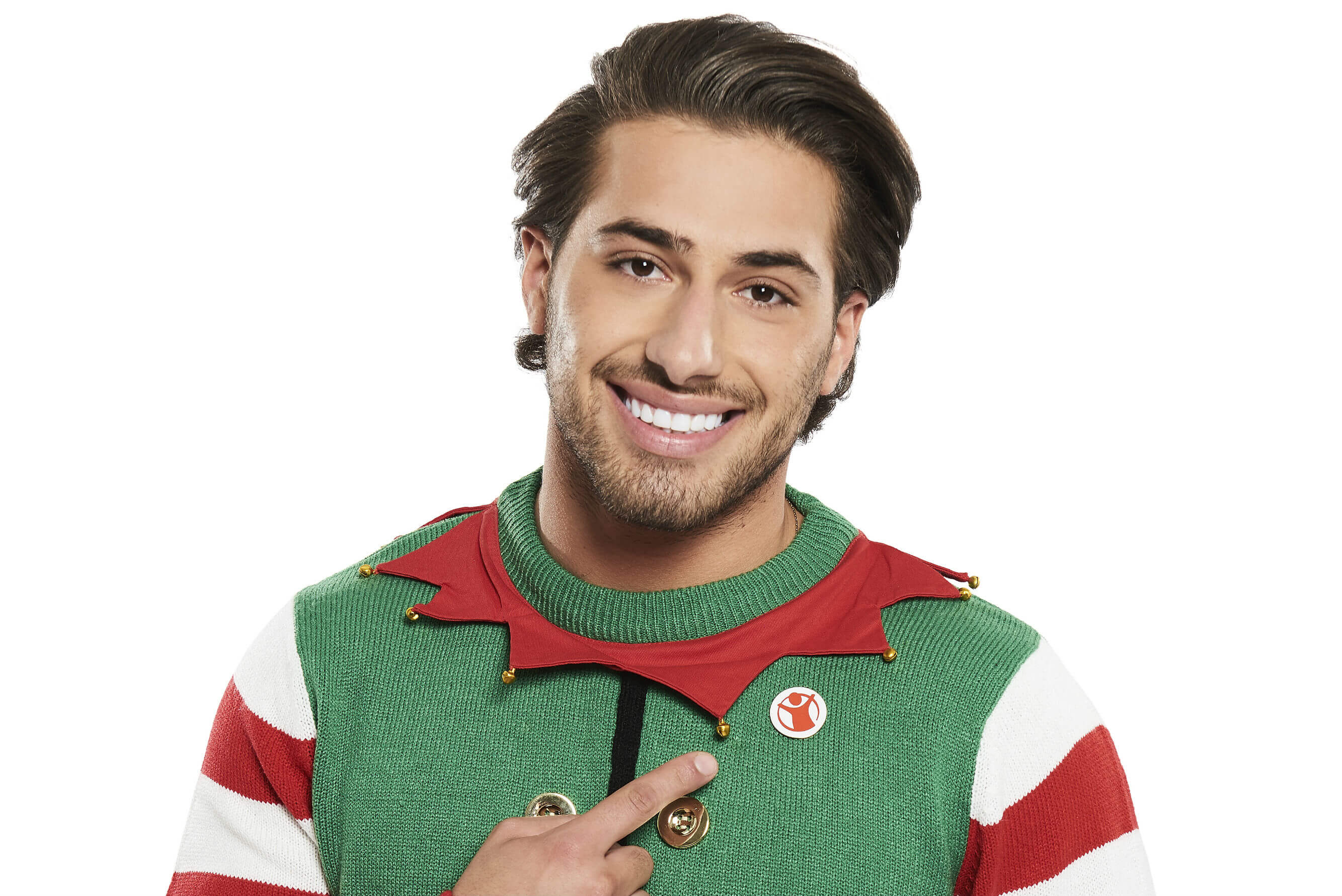 Kem Cetinay, from Love Island, wears his Christmas Jumper for Save the Children