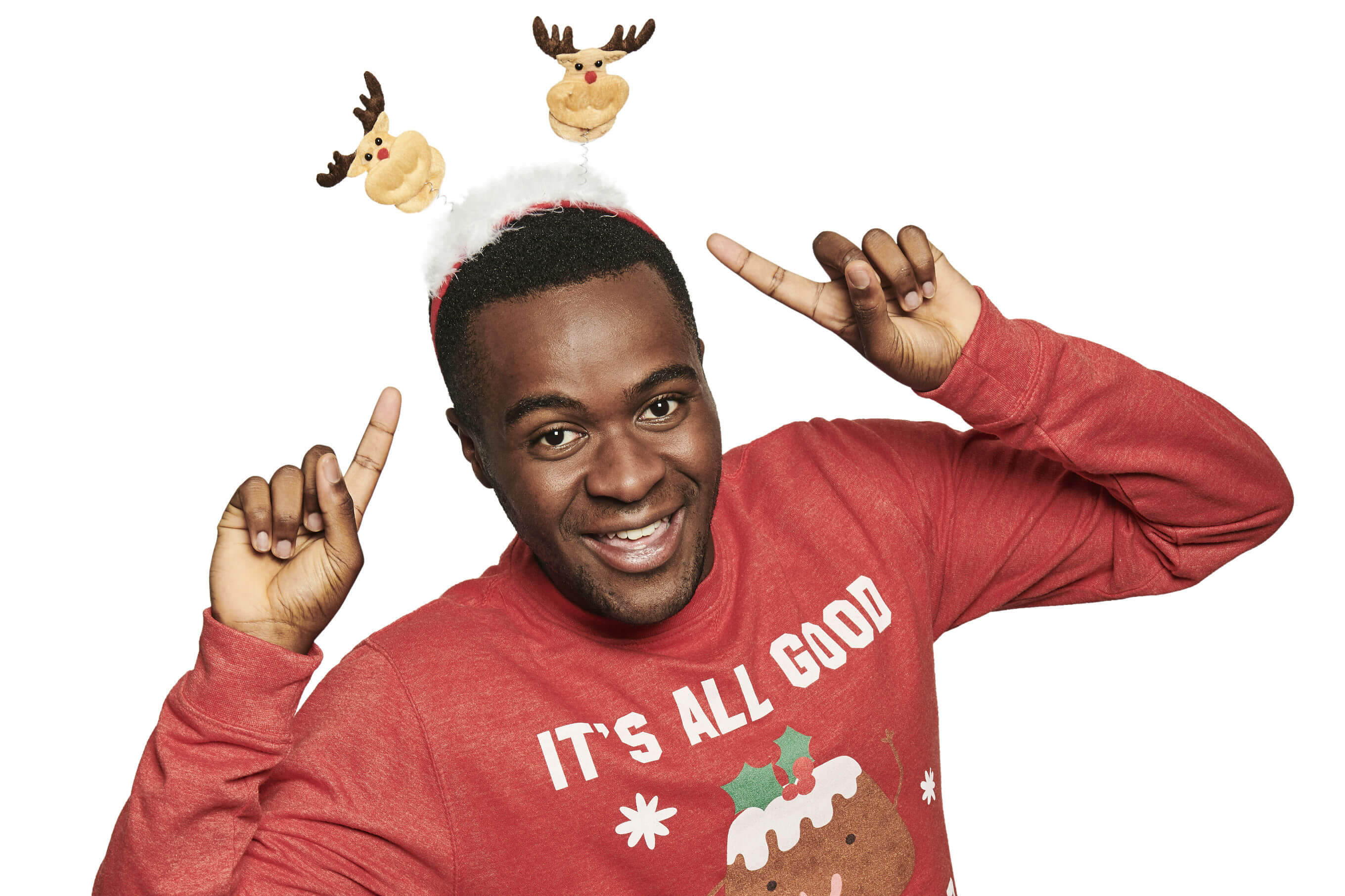 Bake Off's Liam Charles dresses in his it's all good in the pud Christmas Jumper for Save the Children's Christmas Jumper Day.