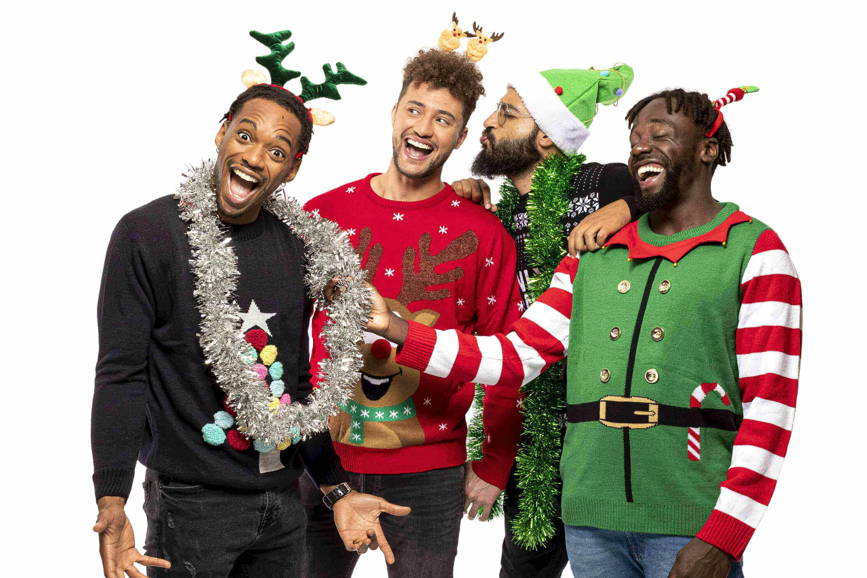 X Factors Rak Su join us for Save the Childrens Christmas Jumper Day, wearing their festive knits.