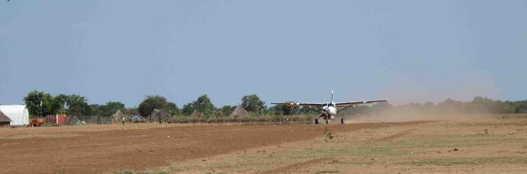The 'busy' airstrip at Malualkon