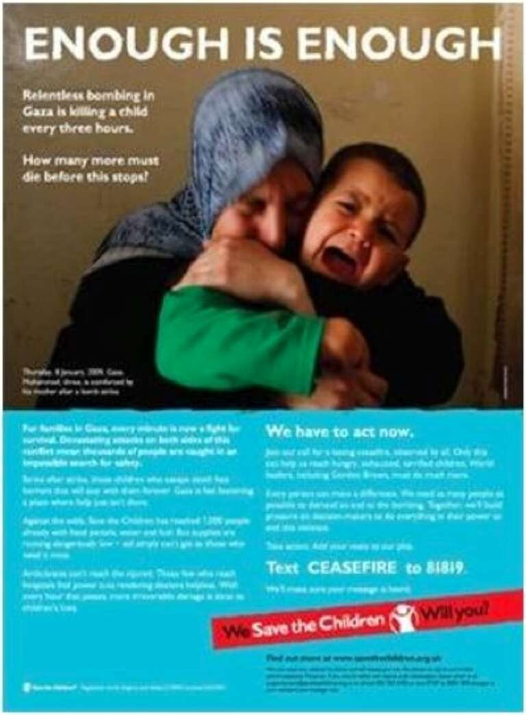 Emotionally powerful image used to generate support for our Gaza campaign