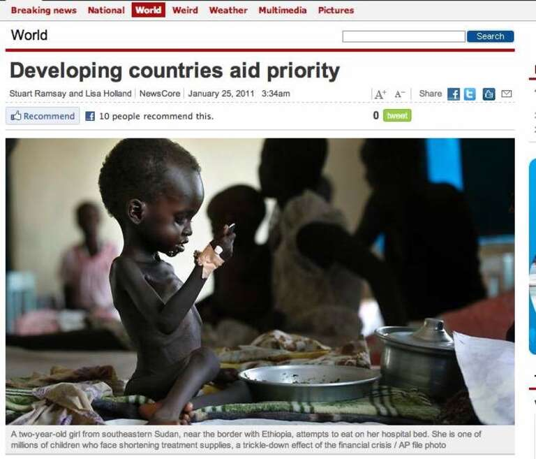The caption to this image originally said incorrectly that the child was from Ethiopia 'the hungriest place on earth'