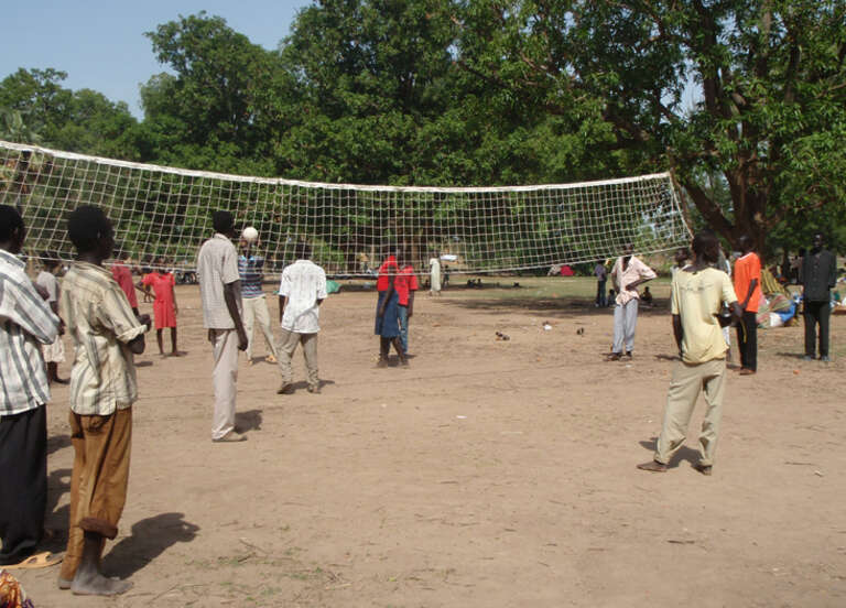 IDP Children play volleyball at the SCiSS safe space for children in Wunrok, southern Sudan.