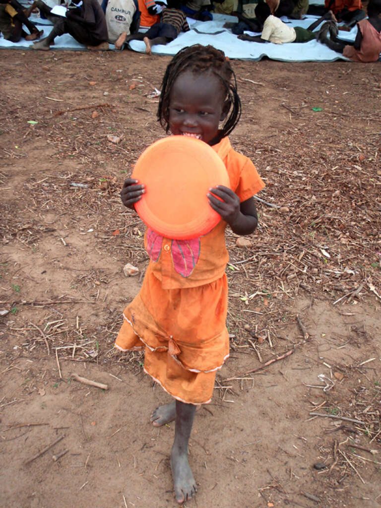 Young girl at the Mayen Abun Save the Children safe play space.