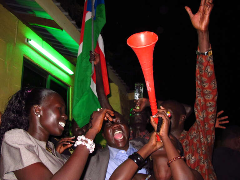 People celebrate the independence of the new Republic of South Sudan on July 9, 2011. Juba, South Sudan.
