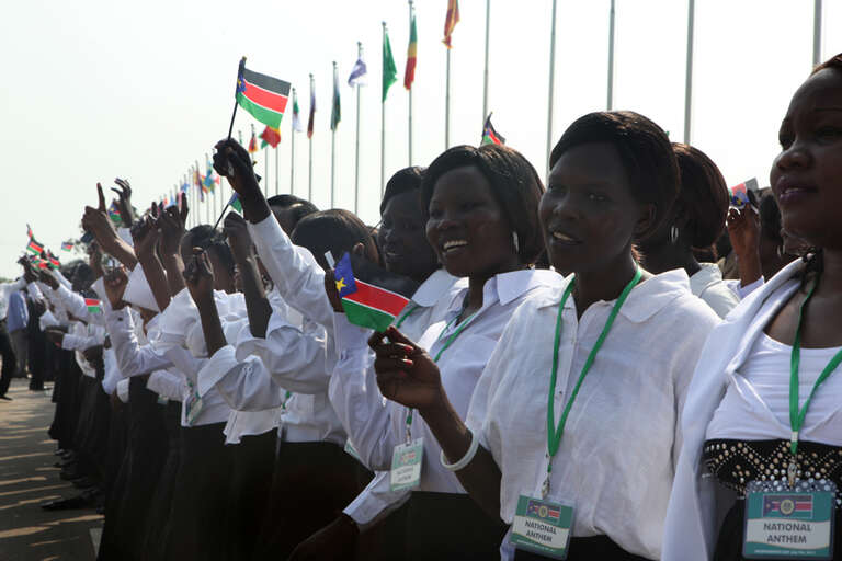 The National Anthem singers at the ceremony marking the Declaration of the Independence of the Republic of South Sudan, in Juba, South Sudan, on Independence Day. July 9 2011.