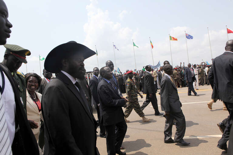 Salva Kiir Mayardit, President of the new Republic of South Sudan, greets guests at the ceremony.
