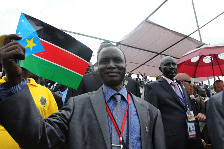 Abraham Deng, Senior Government Liaison for Save the Children in South Sudan, attends the independence ceremony.