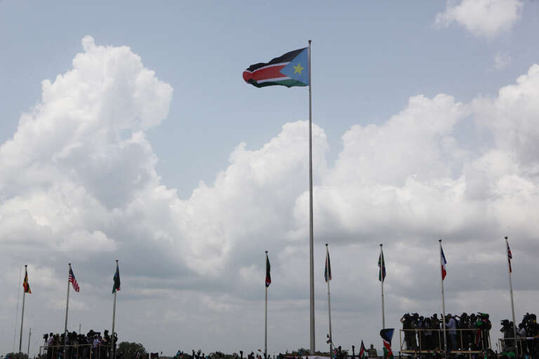 The official flag of the Republic of South Sudan is raised during the ceremony marking the birth of the new nation on 9 July 2011.