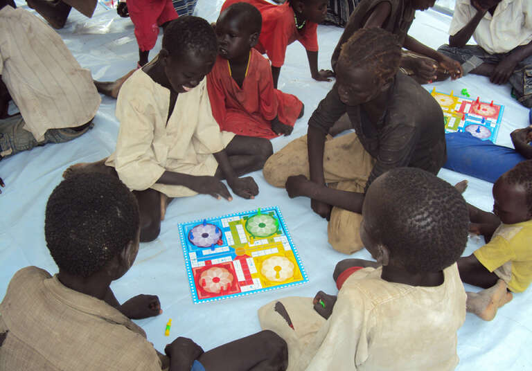 Children playing games at the Mayen Abun Child Friendly Space.