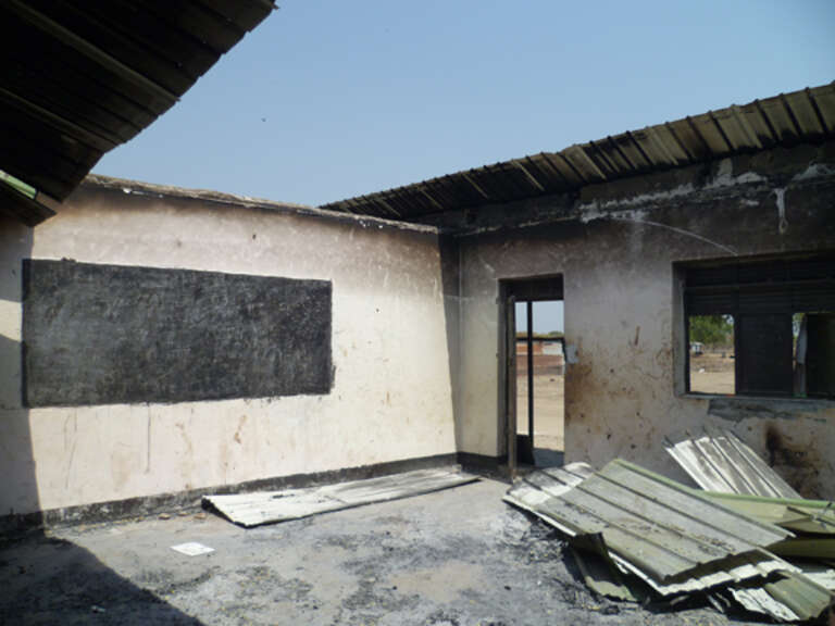The Likuangole Primary School was vandalized and destroyed. Perpetrators marked their names, origin and class levels (P8) on the walls. Likuangole, Pibor County.