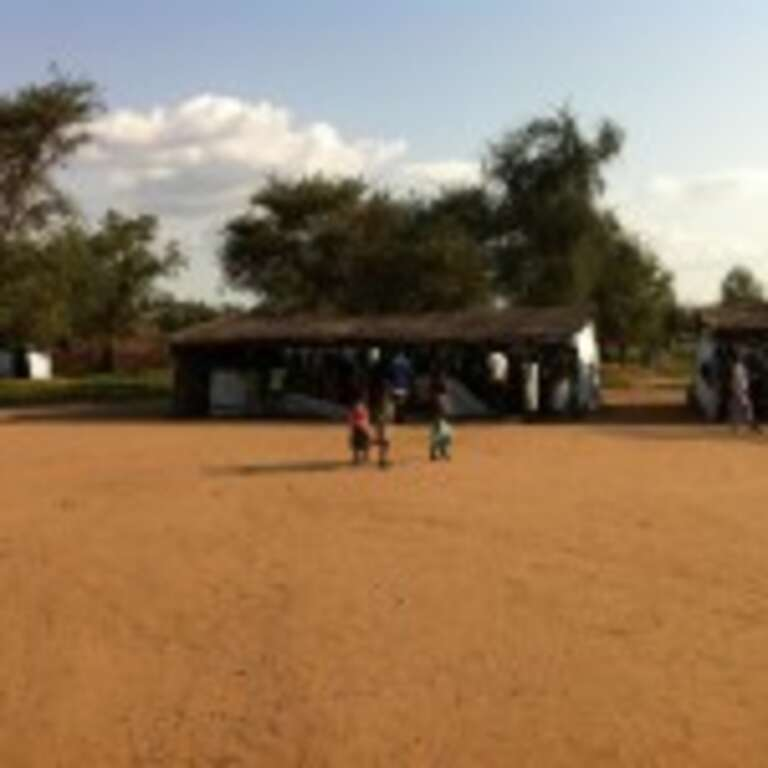 One of the temporary classrooms in Jamur School, Doro refugee camp