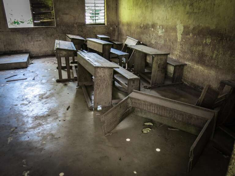school room destroyed in Central African Republic