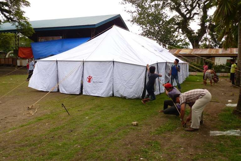The tent for a Save the Children Temporary Learning Space in Zamboanga City, The Philippines