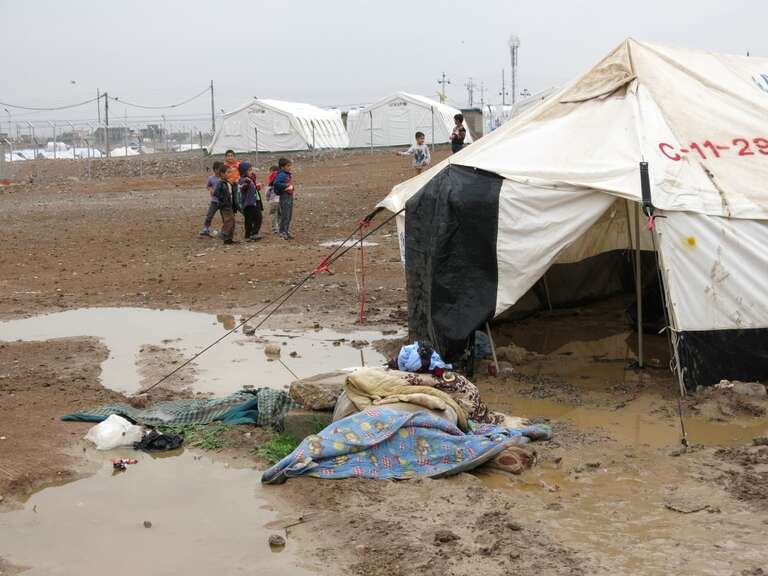 Rains are starting to arrive in northern Iraq which is now home to over 200,000 Syrian refugees