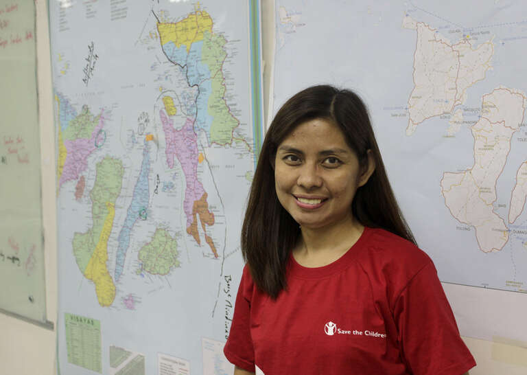 Myra, a logistics assistant working with Save the Children, who became one of the heroes of the response to typhoon Haiyan