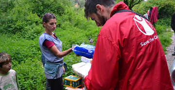 Save the Children teams delivering aid to vulnerable families caught up in the Balkan floods