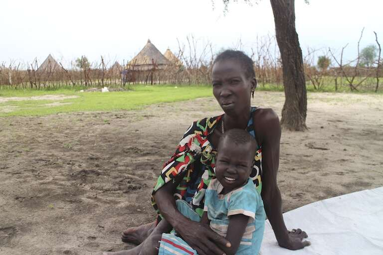 Nyabal, 36 and her son Doctor, 5, who was treated by Save the Children for severe malnutrition and malaria