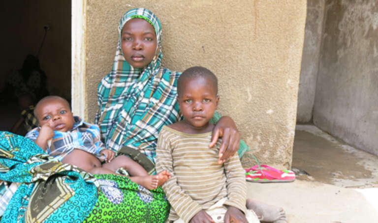 Jummai and her two children forced from their homes by the fighting in NE Nigeria