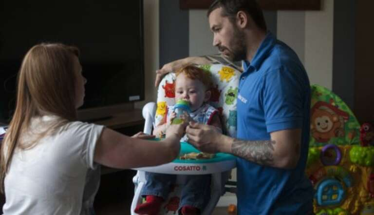 Victoria, 23, husband Simon, 26, and15-month-old Oliver-James are a family on the cusp of poverty