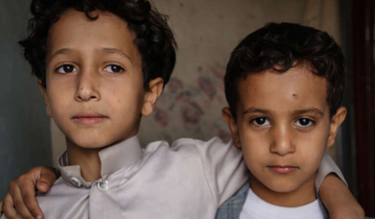 Two displaced brothers in Yemen.