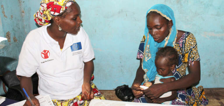 Save the Children Save at an outpatient therapeutic feed clinic in Borno state, Nigeria.