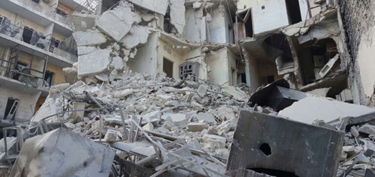 Destruction on the streets of eastern Aleppo.