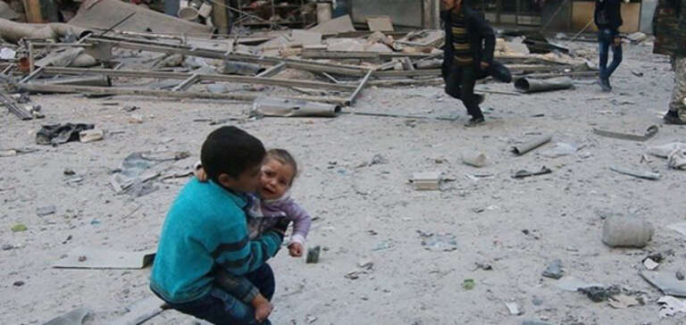 Two children in of eastern Aleppo.
