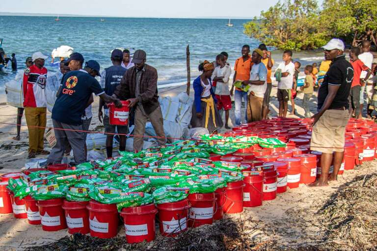 Food and Hygiene supplies being distributed in Mozambique