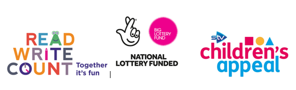 Grouped logos - Read, Write, Count logo, National lottery funded logo, ITV Children's appeal logo