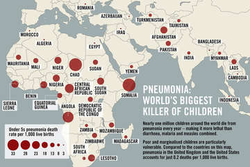 A map showing the scale of pneumonia.