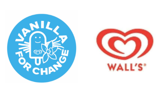 Vanilla for Change and Wall's logos