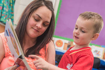 Nadine and her son Regan, 4, take part in a Families Connect session at their school in Belfast, Northern Ireland.