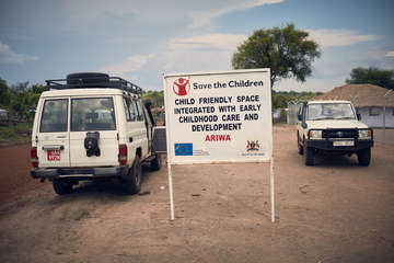Save the Children's Child Friendly Space in Bidi Bidi Refugee Settlement, northern Uganda.