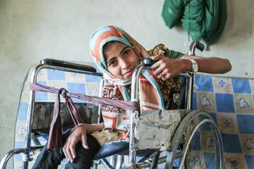 "Noran, who is 13 years old, was injured in an attack on a factory in Yemen, targeted by 4 airstrikes.  Noran was knocked down by the blast wave and twisted her back. Her life has changed completely, and she now uses a wheelchair.  Noran says, ""It's our right to learn. It's our right to build a bright future."""